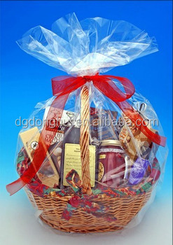 Sugar Bread Logo Pritning Cello Cellophane Bags Gift Basket Packaging Clear