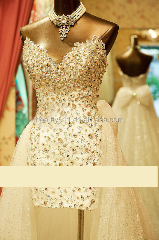 Custom Made 2017 High Quality Sequines Beading Sheath Sleeveless High Low Sexy Wedding Dress #695
