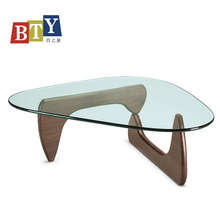 Modern style tempered glass top wooden coffee table