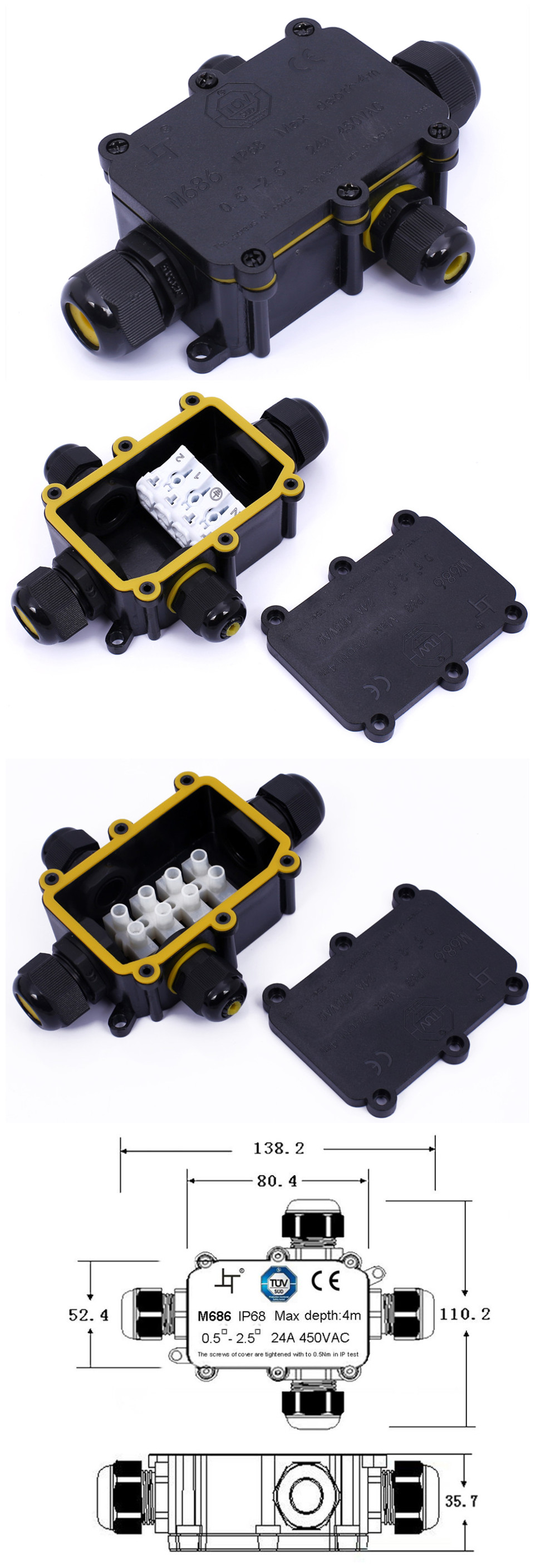 TUV 2 yollu IP68 açık elektronik plastik terminali bağlantı su geçirmez kablo bağlantı kutusu
