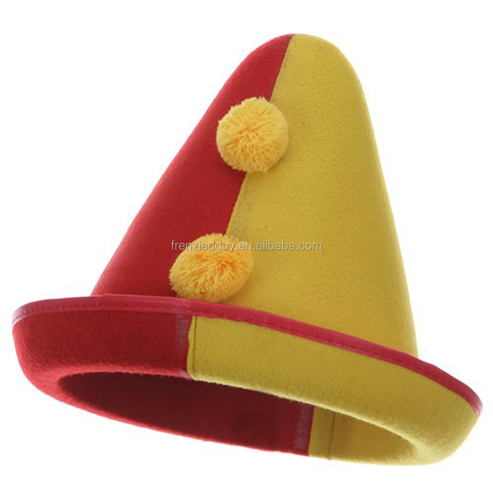 crazy party red Yellow Clown Felt Hat