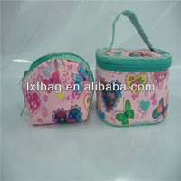 trendy syle lovely top quality round small coin purse with key chain wholesale, new arrival printing cute coin purse clip