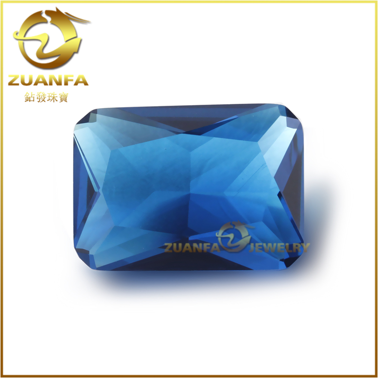 wholesale artificial gemstone emerald cut blue faceted glass stones