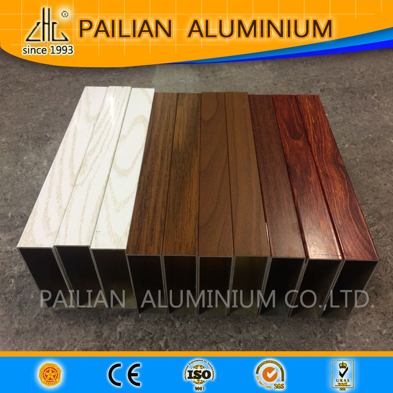 Hand feeling Aluminum box profile ,wood grain aluminium square tube,wood grain transfer paper for aluminium profile
