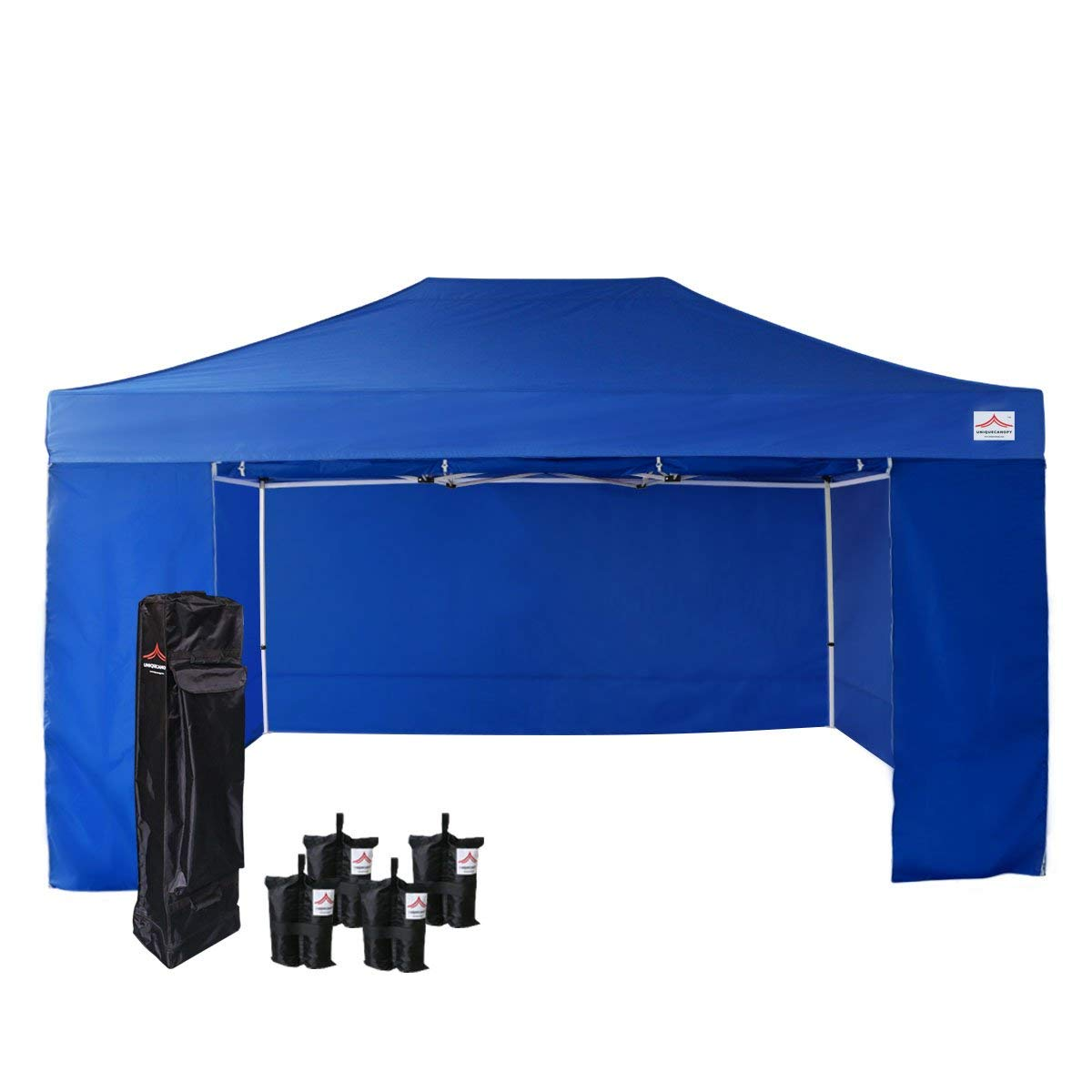 UNIQUECANOPY 500D Enhanced 10x15 Ez Pop up Canopy Portable Folded Commercial Canopy Car Shelter Wedding Party Show Tent with 4 Zippered Side Walls and Wheeled Carrying Bag Blue