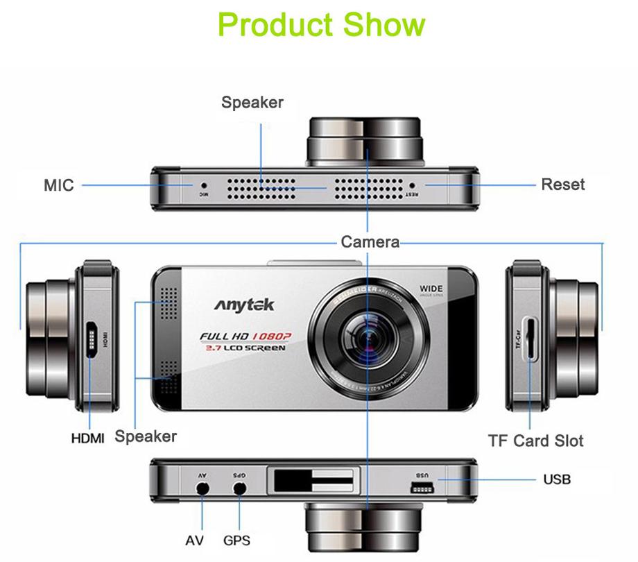 Anytek AT88 автомобиль DVR двойное стекло автомобиль камера видео 2.7
