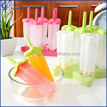 2015 Hot 6pcs Set Red Star Popsicle Mold Ice Cube Maker BPA Free