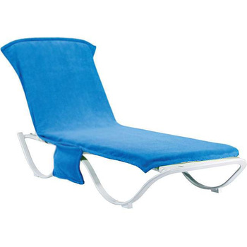 f78fdd065a77 100% cotton terry blue towel sunshine beach chair cover with side pockets