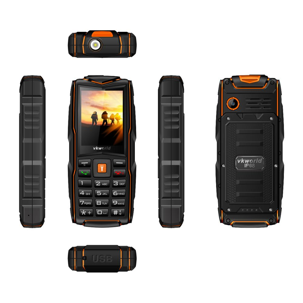 Original VKWORLD NEW V3 2.4inch 3 sim cards feature phone 3000mAh rugged waterproof phone with LED Light