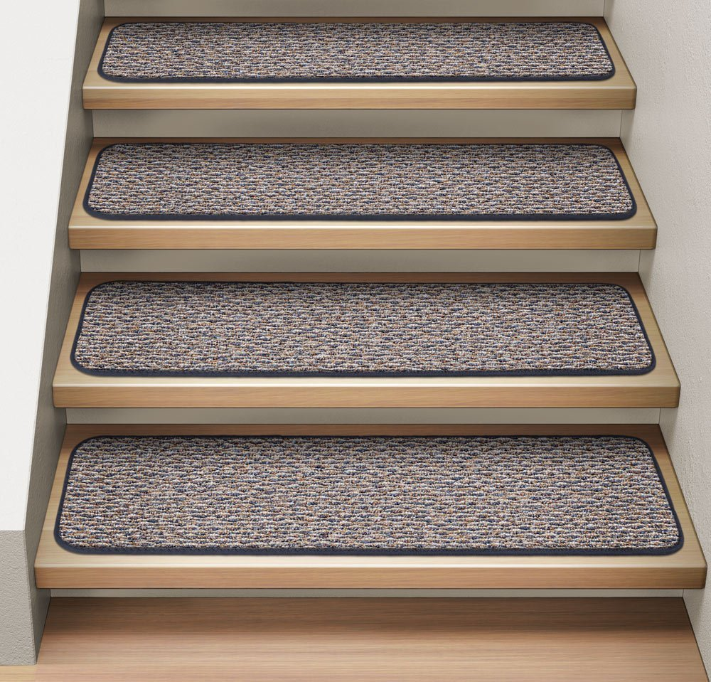 Set of 15 Attachable Indoor Carpet Stair Treads - Denim Blue - 8 In. X 30 In. - Several Other Sizes to Choose From