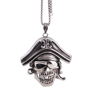 Sea King Blind One Eye Skull Wear A Blinder And Hat Stainless Steel Anti Pendant Necklace