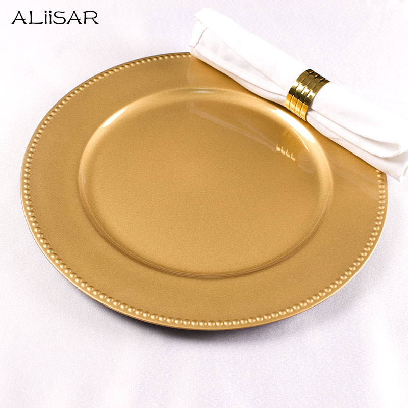 "2019 free sample wholesale dinner 13"" Gold plastic beaded charger <strong>plate</strong>"
