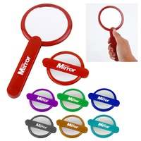 Hot sale promotion universal design competitive price good quality pocket travel foldable round girl's cosmetic handle mirror