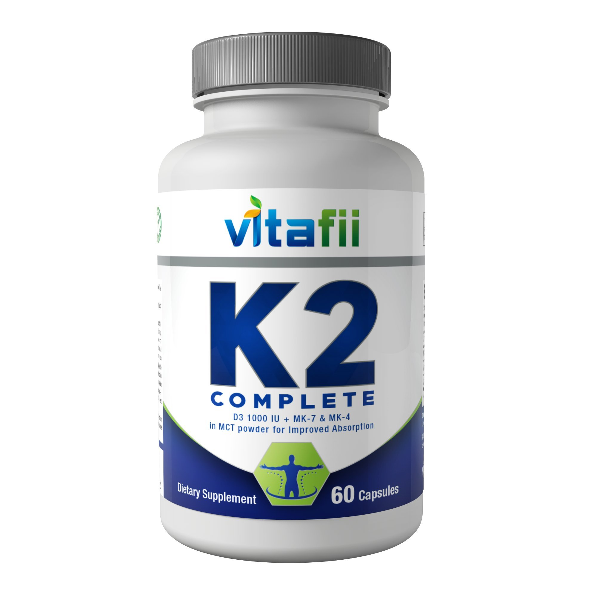 8d55586cafb Vitafii Vitamin K2 (MK4 and MK7) With D3 - Maximum Absorption Vitamin D And  K Supplement - Promotes Strong Bones And Heart Health - Includes MCT Powder