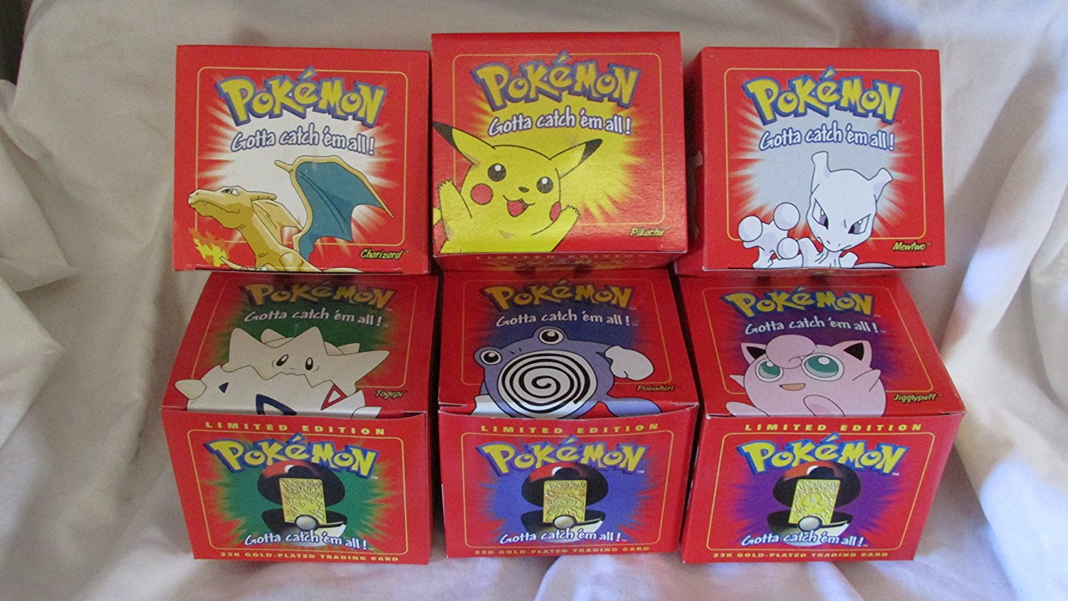 Pokemon 23k gold plated metal Burger King Set of 6 all in red boxes new unopened Pokemon balls each card has a certificate of authenticity