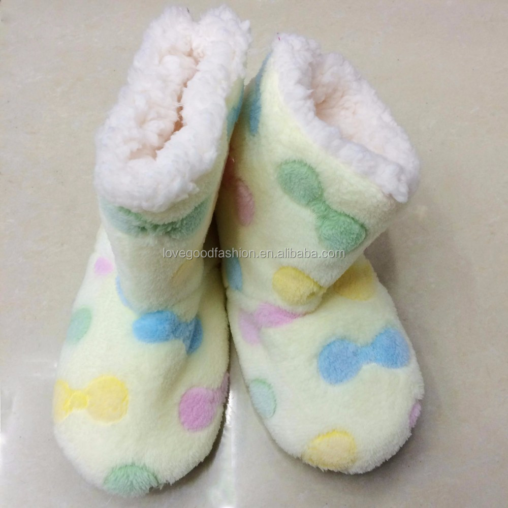 Women's Cozy Fleece Lined Non-Slip Slipper Booties Indoor Socks