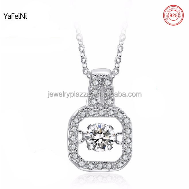 American diamond necklace set , wholesale white gold plated 925 sterling silver rocking zircon necklace