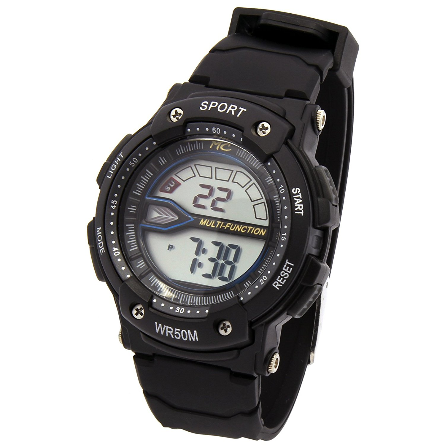 Black Sport Shock Resistant LED Digital Wrist Watch with Alarm Water Proof Watches