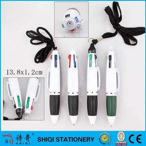 Multi color plastic 4 color mini jumbo pen with lanyard