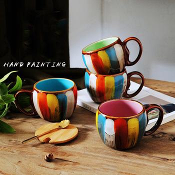 Yaratıcı El Boyama Seramik Kupa Kahve Süt Kupa Bardak Kaşıkla Buy
