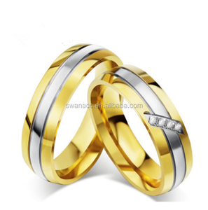 18K Gold Micro-zirconia Men and Women Ring Titanium Steel Couple Ring