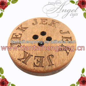cheap 4 hole logo engraved wood coat button