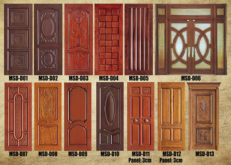 Latest Design 48 Inches Carved Wooden Exterior Doors For Sale In