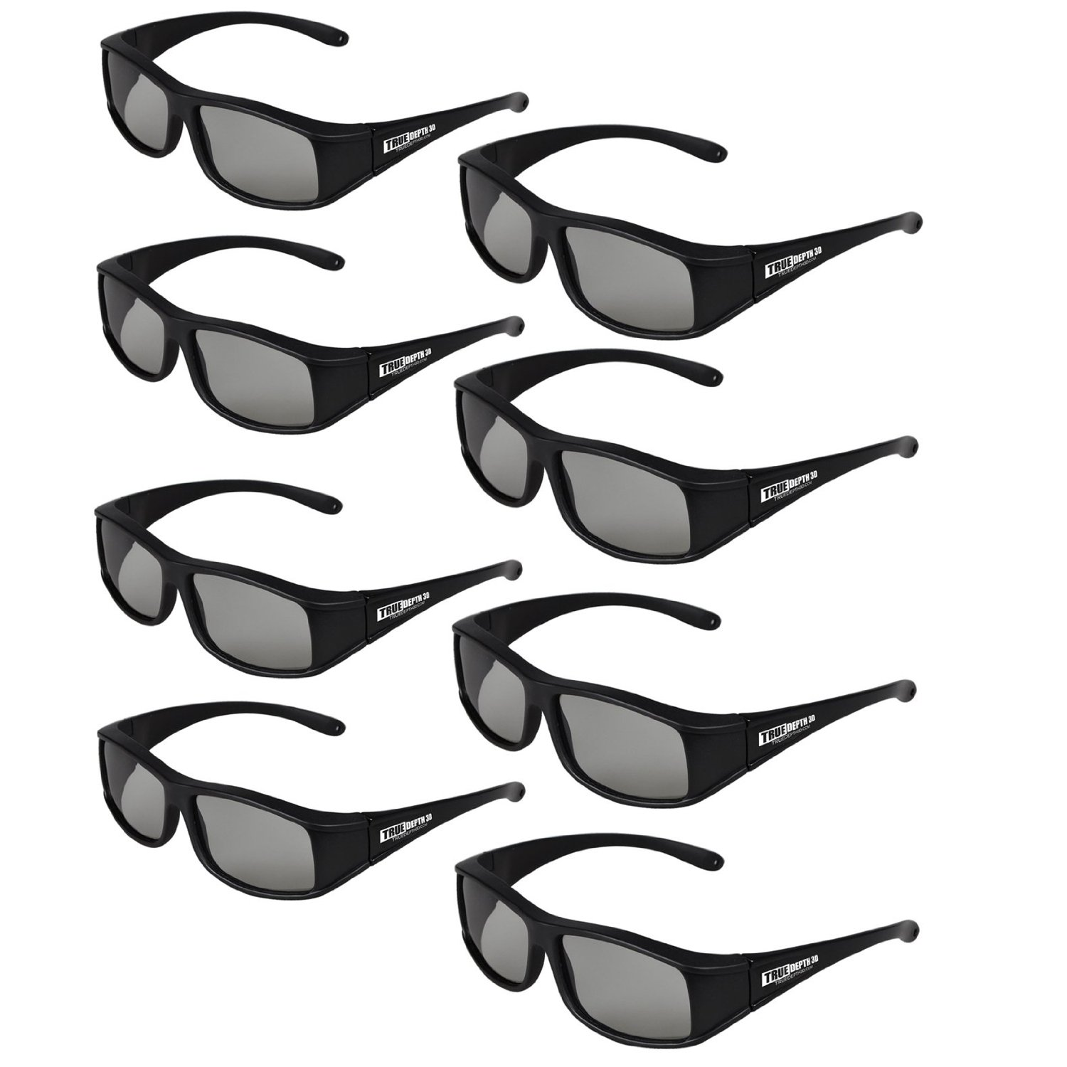 True Depth 3D® Circular Polarized Glasses for Passive LG 3D TVs (8 Pairs!)
