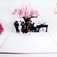 3D Handcraft Music Band with Cherry Blossom Tree Laser Cutting Kirigami Pop Up Greeting Card