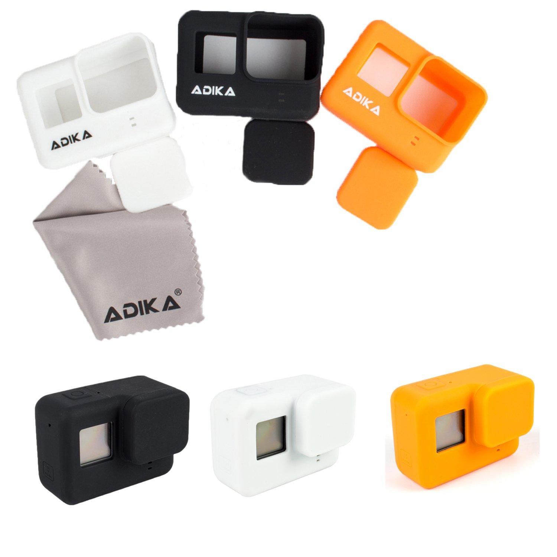 Silicone Body Skins for Gopro hero5/6 silicone case cover (Black/Orange/White 3pcs + Lens Cap + Lens Protector + Screen Protector) w/lens cap for Gopro hero 5 w/lens and lcd screen protector By ADIKA