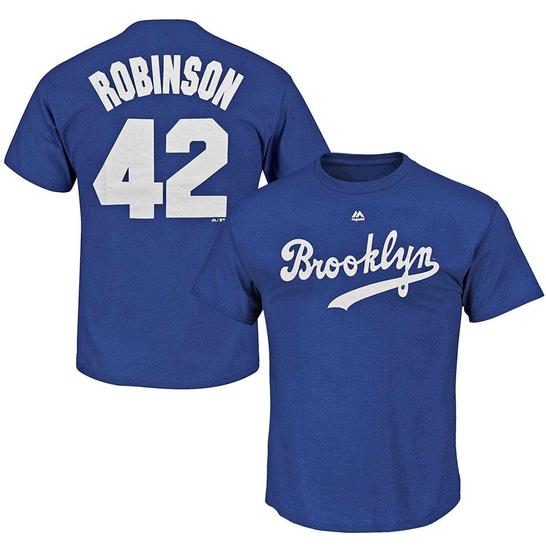 Jackie Robinson Brooklyn Dodgers  42 MLB Men s Big and Tall Player T-Shirt  Blue (2XL) 25533334f69