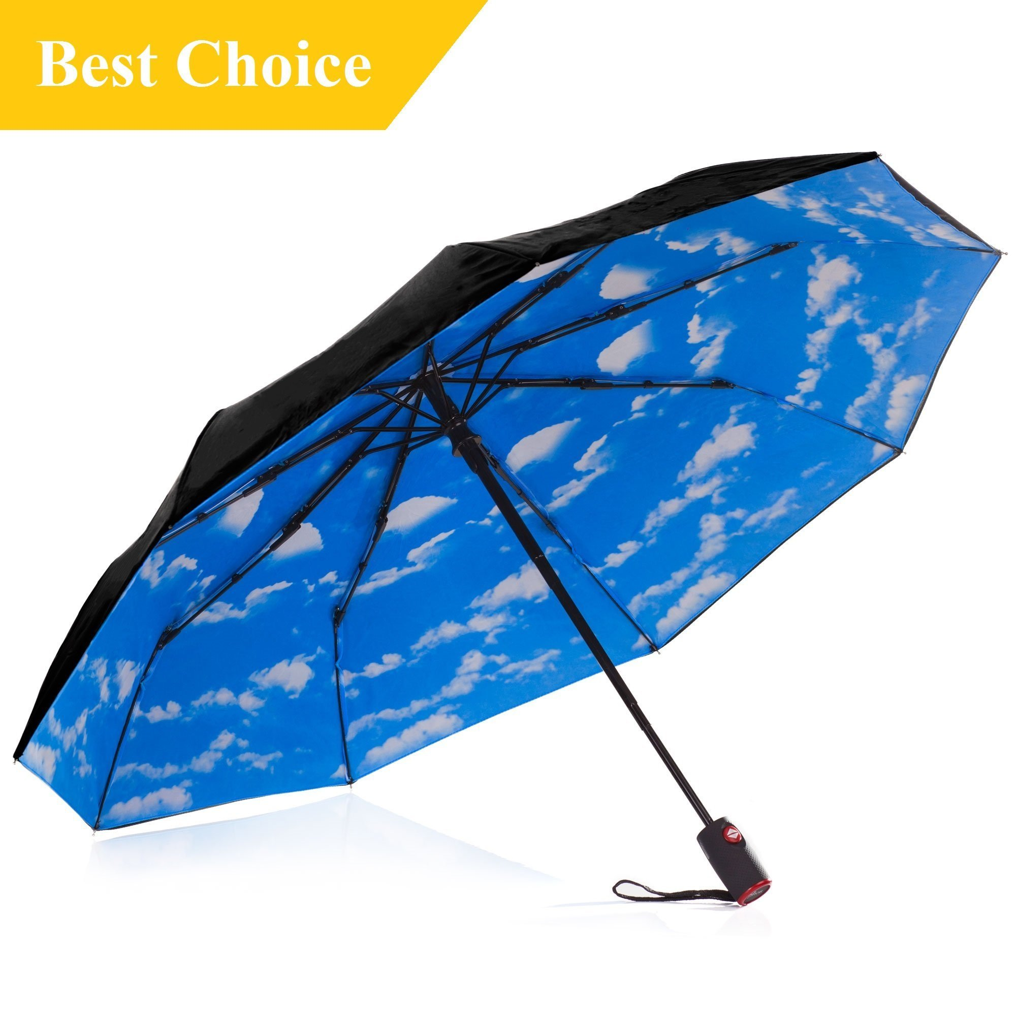 IHOR Best Automatic Compact Windproof Open & Close Wind-Resistant Portable Black Travel Umbrella with Blue Sky canopy Small & Strong, Easy Touch, Totes Micro Mini Male & Female