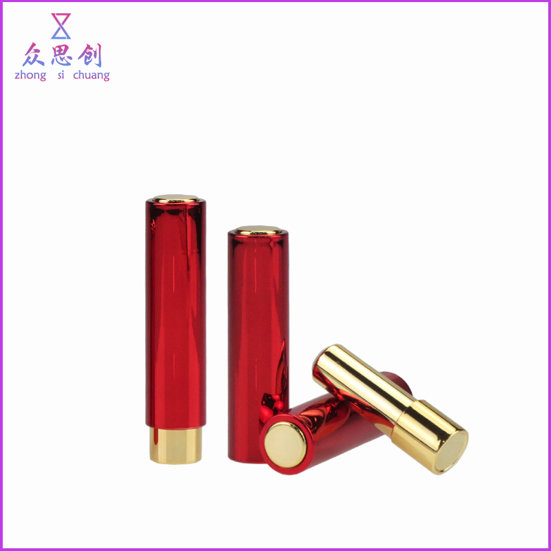 Special design classic lovely cosmetic packaging round shape press push type small mini lipstick case with press button ZK66020