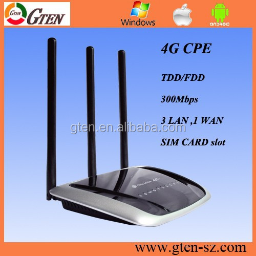 Support OEM 300Mbps 4G SIM ROUTER with external antenna GATEWAY WIRELESS BROADBAND CPE DHCP ETHERNET PORT