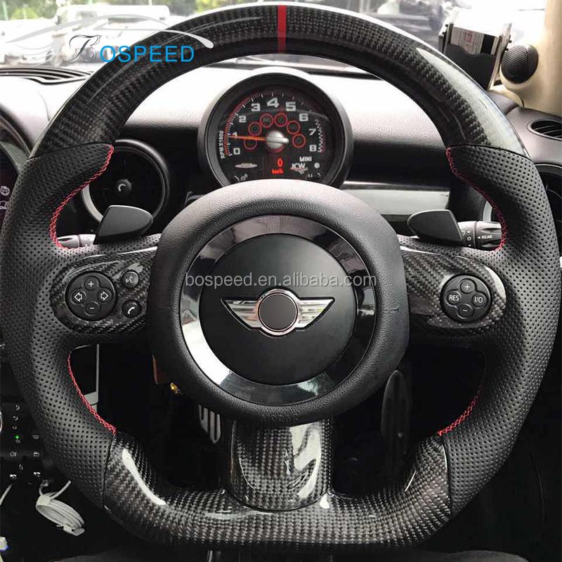 Carbon Fiber Steering Wheel Flat Bottom For Bmw Mini Cooper R55 R56 R57