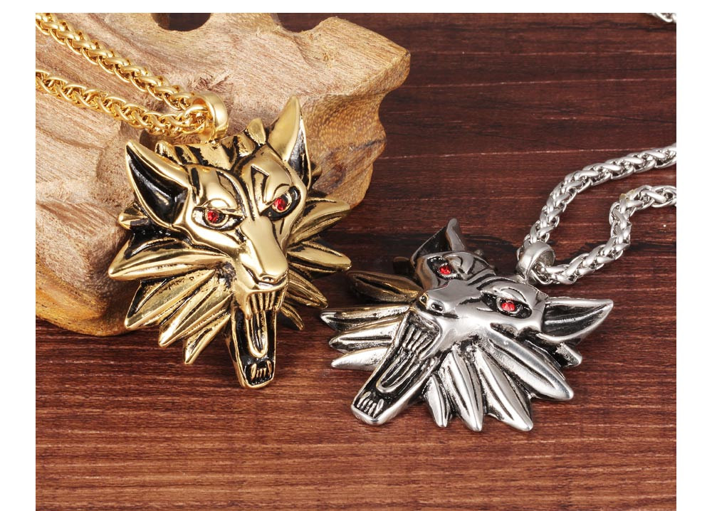 Custom Cool Men Jewelry Stainless Steel Silver Godl Wolf Head Necklace