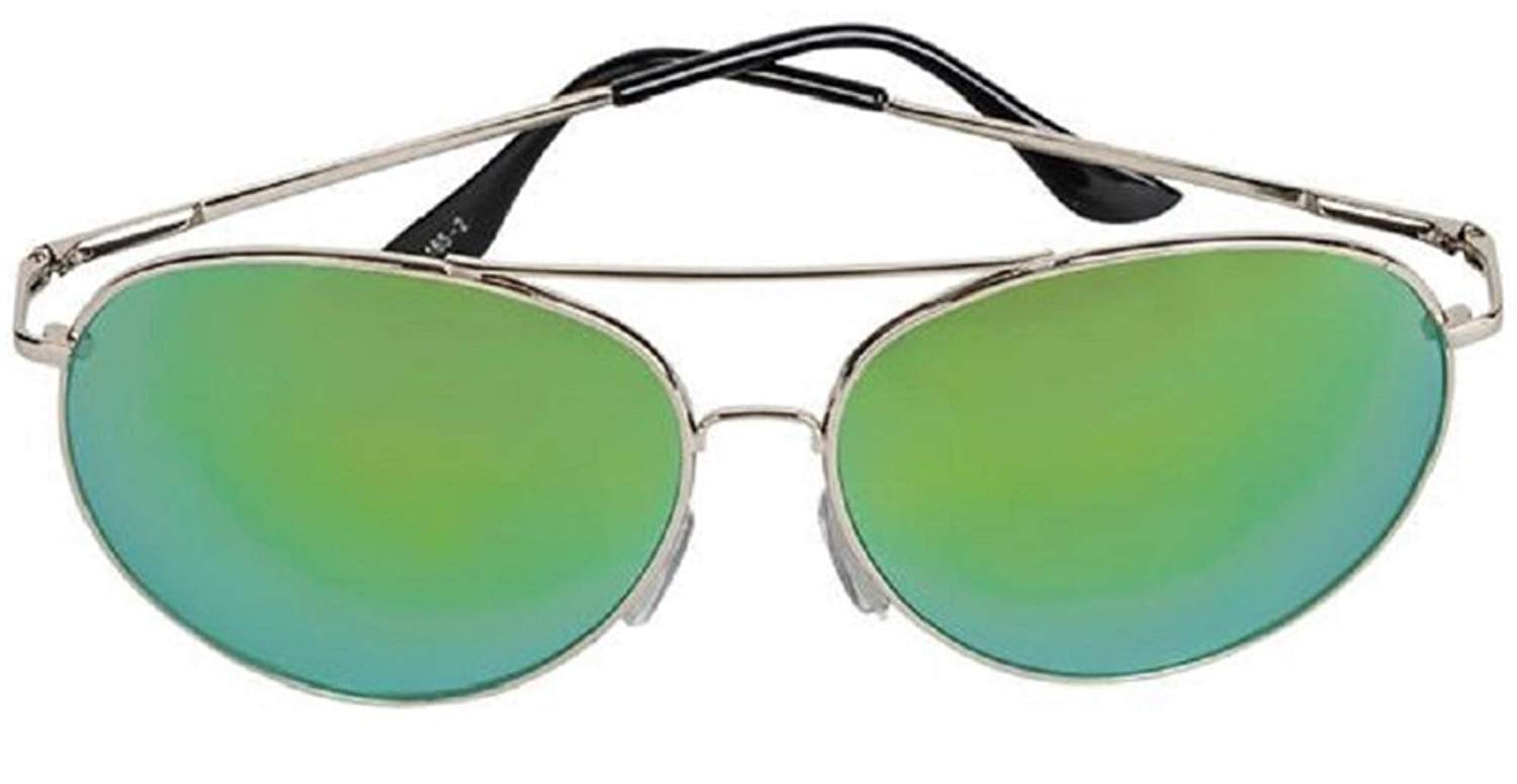 74c7400869f Get Quotations · Metal Frame Large Aviator Sunglasses 100% UV Protection -  Green Mirrored Lens