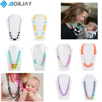 BPA Free Teething Necklace Custom Silicone Necklace For Mom and Baby
