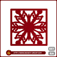 Hot selling red wedding decorations polyester felt coaster