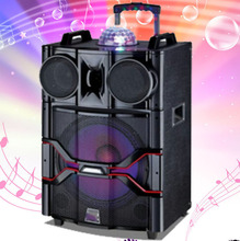 "Licht bal op top LED luidspreker 10 ""12"" 15 ""woofer 100 <span class=keywords><strong>W</strong></span> <span class=keywords><strong>rms</strong></span> powered sound apparatuur Draagbare dj actieve pa speaker met trolley"