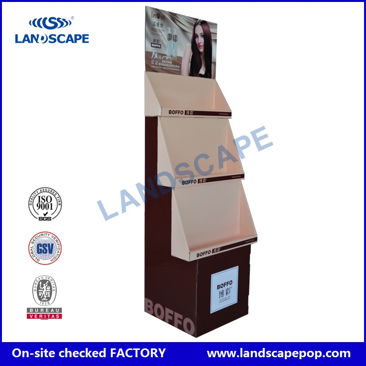 Customized paper material pop cardboard display stand for hair flat iron