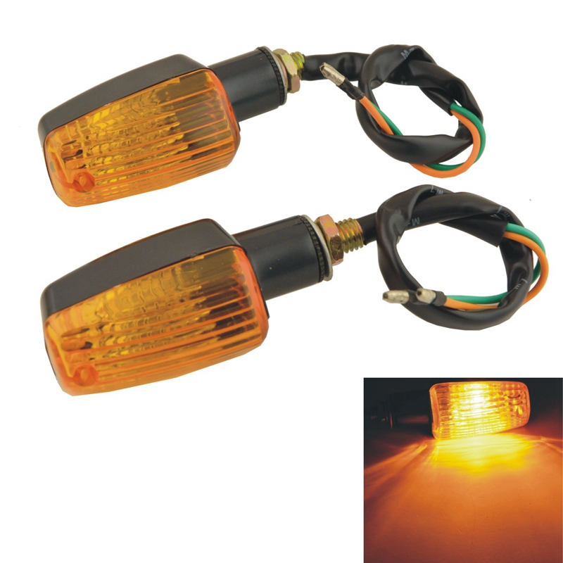 Quaanti New 2 X 6LED Motorcycle Mini Amber Turn Signal Lights Blinker Indicator Motorcycle Accessories Black