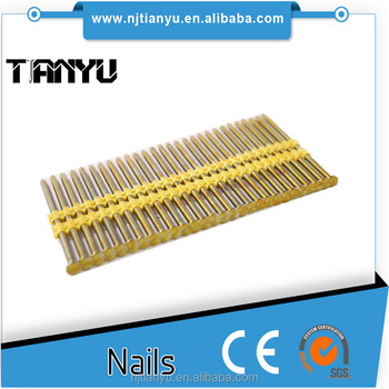 21 Degree   Full Round Head Plastic Strip Nails For Framing Nailer, Round  Head Brass