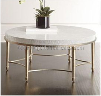 Antique Round Marble Top Gold Stainless Steel Legs Coffee Table
