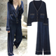 Bright silk thin section knit cardigan + wide leg trousers knitted sweater set women
