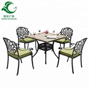 4+1 Cast Aluminum Furniture Marble Table Top Garden Set
