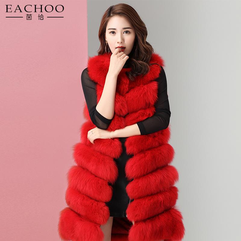 Yeni moda el yapımı kırmızı uzun tilki kürk gerçek kürk yelekler bayanlar için