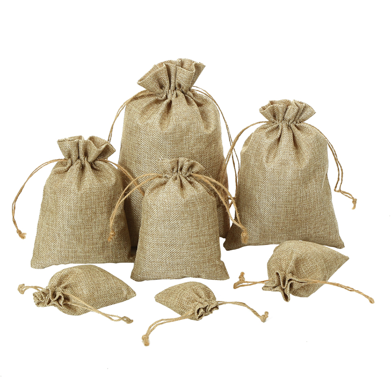 High quality various colors personalized hemp gift bag customized logo printing hessian jute drawstring bag