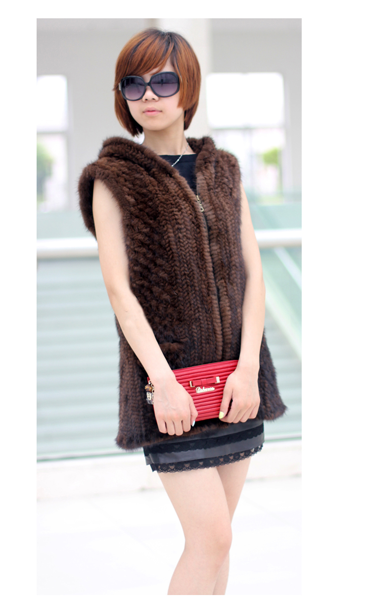 New DHL/EMS Free Shipping Women Winter Knitted Real Genuine Natural Mink Fur Vest With Zipper Hooded Luxury Mink Fur Vest FP204