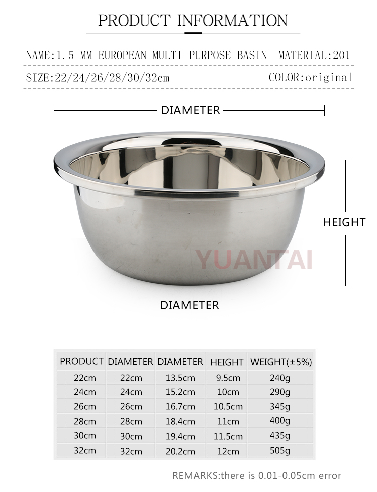 wholesale Hight quality food salsd bowl stainless steel deep mixing bowl stainless steel food bowl